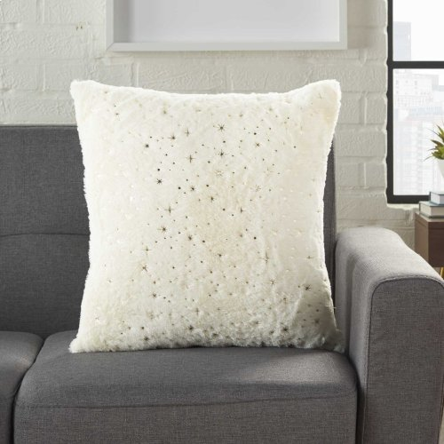 "Fur Vv614 Ivory Gold 18"" X 18"" Throw Pillows"