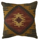 Red & Mustard Kilim Pillow. Product Image