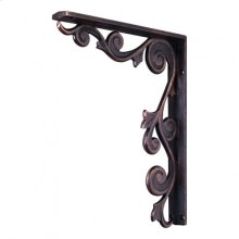 "1-1/2"" X 10"" X 13-1/2"" Metal (Iron) Floral Bar Bracket. e Hardware Resources, Inc. Finish: Dark Brushed Antique Copper. Mounting Screws (#8x3/4"") Included. Not for outdoor use."