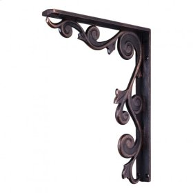 """1-1/2"""" X 10"""" X 13-1/2"""" Metal (Iron) Floral Bar Bracket. e Hardware Resources, Inc. Finish: Dark Brushed Antique Copper. Mounting Screws (#8x3/4"""") Included. Not for outdoor use."""
