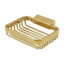 "Wire Basket, 4 3/4"" Rectangular Soap Holder - PVD Polished Brass"