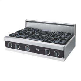 """Graphite Gray 36"""" Open Burner Rangetop - VGRT (36"""" wide, four burners 12"""" wide char-grill)"""