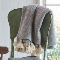 Grey Marble Throw with Tassels. Product Image