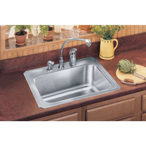"Elkay Stainless Steel 25"" x 22"" x 10-1/4"", Single Bowl Drop-in Sink and Faucet Kit"