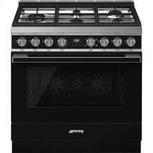 "Portofino Pro-Style Gas Range, Black, 36"" x 25"""