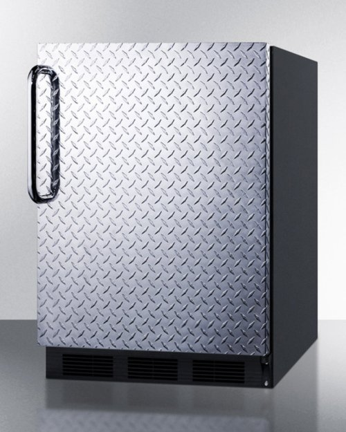 ADA Compliant Built-in Undercounter All-refrigerator for General Purpose Use, Auto Defrost W/diamond Plate Wrapped Door, Towel Bar Handle, and Black Cabinet