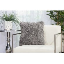 "Shag Dl660 Silver Grey 1'5"" X 1'5"" Throw Pillows"