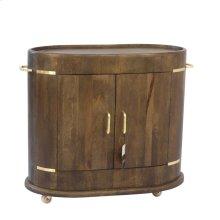"""Wood 37"""" Oval 2 Door Cart W/brass Trim, Gray"""