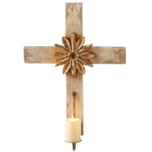 Distressed Ivory & Gold Cross Pillar Wall Sconce.