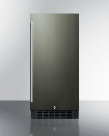 """15"""" Wide All-refrigerator for Built-in or Freestanding Use, With Reversible Black Stainless Steel Door and Lock"""