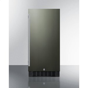 "Summit15"" Wide All-refrigerator for Built-in or Freestanding Use, With Reversible Black Stainless Steel Door and Lock"