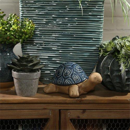 """Ceramic Tortoise, 9.75"""" Navy"""