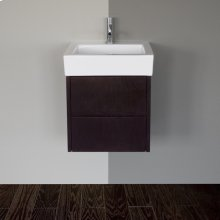 """Wall-mount under-counter vanity with finger pulls on two drawers. Both drawers have U-shaped notch for plumbing, 16""""W, 16 3/4""""D, 15""""H."""