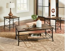 Standard 28173 Plank Industrial Set Cocktail Table & 2 End Tables