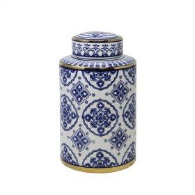 """White/blue Jar W/ Gold Detail, 12"""""""