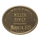 """Welcome Oval """"Family"""" Established - Standard Wall - Two Line - Antique Brass Product Image"""