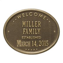"""Welcome Oval """"Family"""" Established - Standard Wall - Two Line - Antique Brass"""