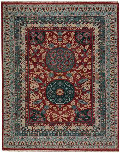 Estate-Journey Red Teal Hand Knotted Rugs