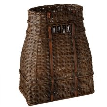 Woven Rattan Tall Basket with Leather Accents.