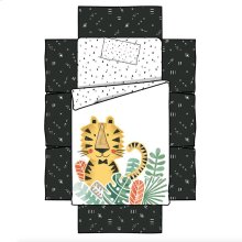 4-Piece Baby Bedding: bed skirt, sheet and pillow Baby Tiger - Black and White