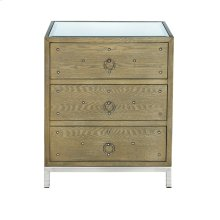 Limed Oak 3 Drawer Nighstand With Nickel Studs. Both Drawers On Glides.