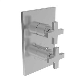 "Satin Nickel - PVD 1/2"" Square Thermostatic Trim Plate with Handle"
