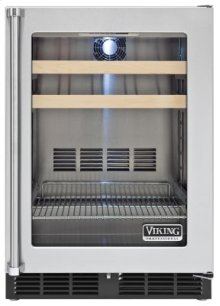 """24"""" Beverage Center, Clear Glass, Right Hinge/Left Handle"""