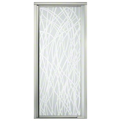 "Vista Pivot™ II Shower Door - Height 65-1/2"", Max. Opening 31-1/4"" - Nickel with Tangle Glass Pattern"