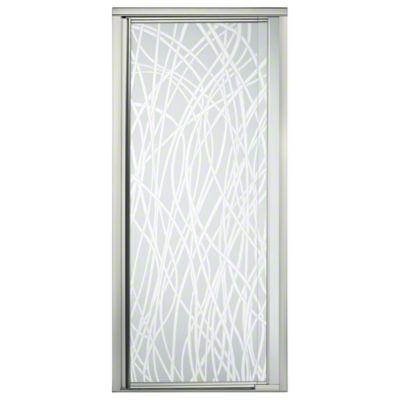"Vista Pivot™ II Shower Door - Height 65-1/2"", Max. Opening 31-1/4"" - Nickel with Tangle Glass Pattern"