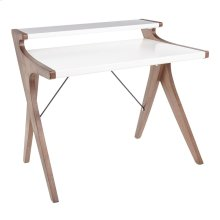 Archer Desk - Walnut Wood, White Wood