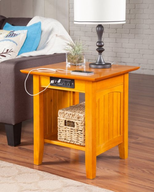 Nantucket End Table with Charger Caramel Latte