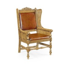 Jacobean Style Natural Oak Wing Chair