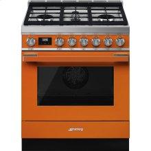 "Portofino Pro-Style Dual Fuel Range, Orange, 30"" x 25"""