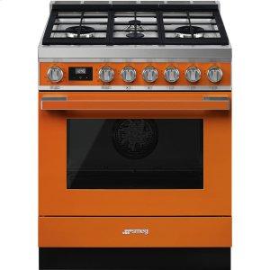 """SmegPortofino Pro-Style Dual Fuel Range, Orange, 30"""" x 25"""""""