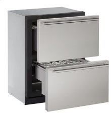 "24"" Independent Dual-Zone Drawer Model Stainless Solid Drawers"