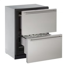 """24"""" Independent Dual-Zone Drawer Model Stainless Solid Drawers"""