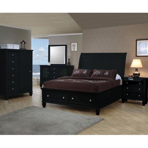 Sandy Beach Black California King Sleigh Bed With Footboard Storage