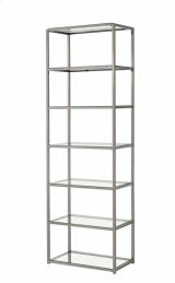 """- Six tier bookcase finished in black nickel- Clear tempered glass shelves- Constructed with steel- Also available in 55.25""""W x 10.25""""D x 26.75""""H (#801018) Product Image"""