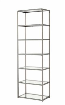 """- Six tier bookcase finished in black nickel- Clear tempered glass shelves- Constructed with steel- Also available in 55.25""""W x 10.25""""D x 26.75""""H (#801018)"""