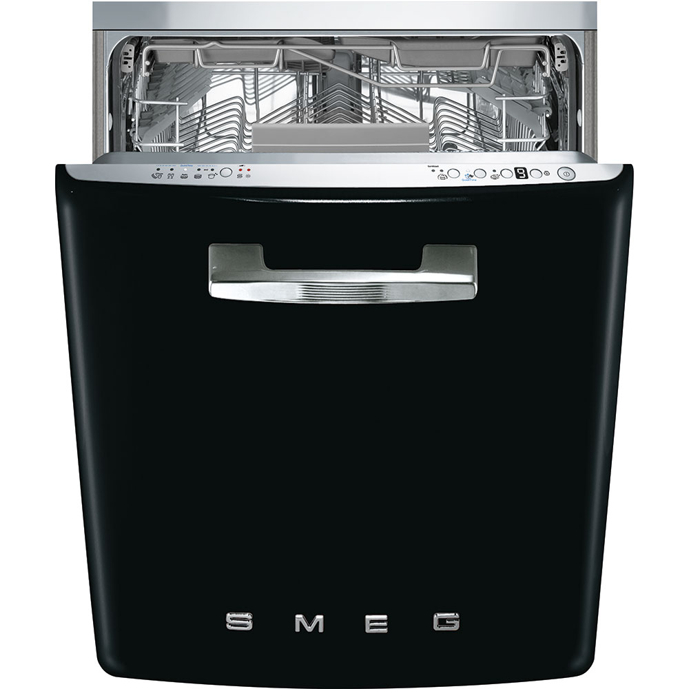 """SmegApprox 24"""" Pre-Finished Under-Counter Dishwasher With 50's Style Retro Handle, Black"""