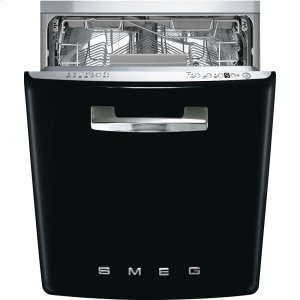 "SmegApprox 24"" Pre-finished Under-Counter Dishwasher with 50'S Style Retro handle, Black"