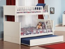 Nantucket Bunk Bed Twin over Full with Raised Panel Trundle Bed in White