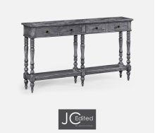 Antique Dark Grey Parquet Double Console Table