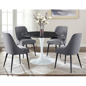 Steve Silver Co.Colfax 5 Piece White Base/Black Marble Top Dining(Table & 4 Side Chairs)