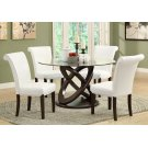 """DINING TABLE - 48""""DIA / ESPRESSO WITH TEMPERED GLASS Product Image"""