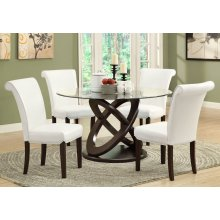 """DINING TABLE - 48""""DIA / ESPRESSO WITH TEMPERED GLASS"""