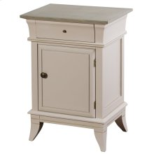 Ivan  19in X 15in X 28in  Door Side Cabinet with Drawer Made of Palownia Wood & Mdf in a Light Gra