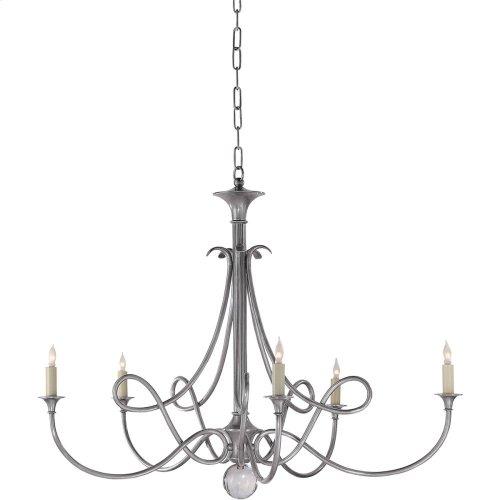 Visual Comfort SC5005AS Eric Cohler Double Twist 5 Light 36 inch Antique Silver Chandelier Ceiling Light