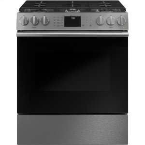 "Cafe AppliancesCaf(eback) 30"" Smart Slide-In, Front-Control, Gas Range with Convection Oven in Platinum Glass"