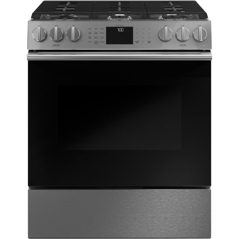 """30"""" Smart Slide-In, Front-Control, Gas Range with Convection Oven in Platinum Glass"""